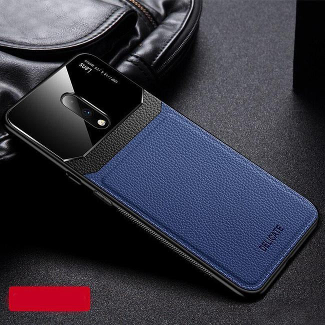 Shockproof Sandstone Back Cover OnePlus 7T Pro Leather Lens Case- Blue