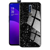 OPPO F11 Pro Marble Glitter Silicone Frame Tempered Glass Case