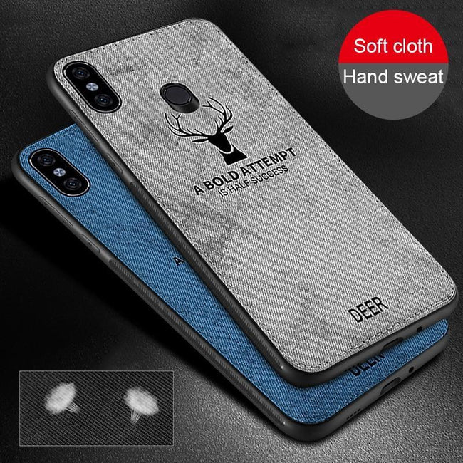 Redmi Note 7/7 Pro Deer Cloth Canvas Fabric Silicone TPU Back Case
