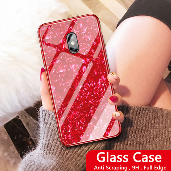 Redmi Note 5 Marble Glitter Silicone Frame Shell Tempered Glass Case