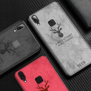 Vivo Y95/91 Deer Cloth Canvas Fabric Silicone TPU Back Case
