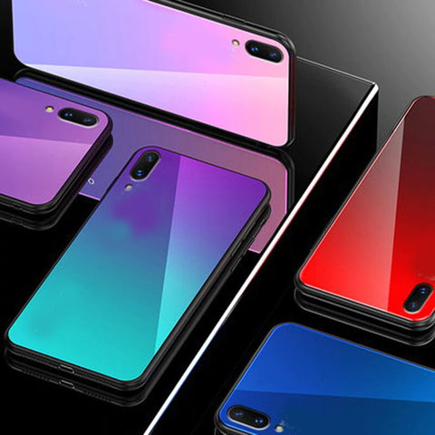 Vivo V11 Pro Tempered Glass Cool Rainbow Effect AURORA Case