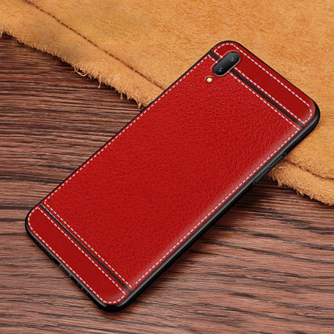 Vivo V11 Pro Matte Leather Stripes Luxurious Leather Stitched Silicone Case