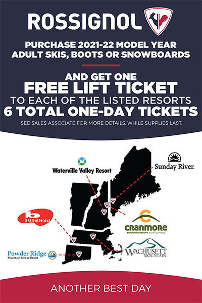 free 6 lift tickets to different mountains in NE with a purchase of 2022 rossignol skis or board at Proctor ski