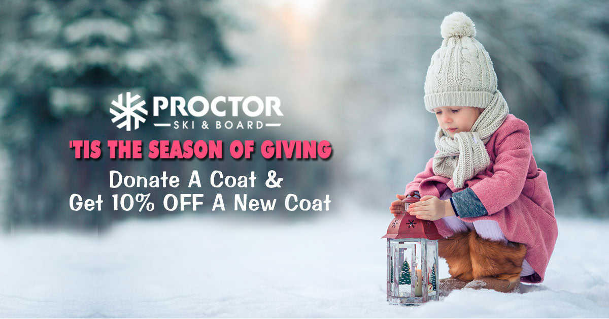 Donate a coat & get 10% off another one at Proctor Ski in Nashua NH