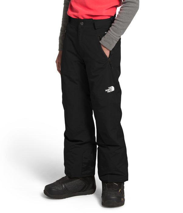 The North Face Freedom Insulated Snow Pants for boys in Black (side) at Proctor Ski in Nashua, NH
