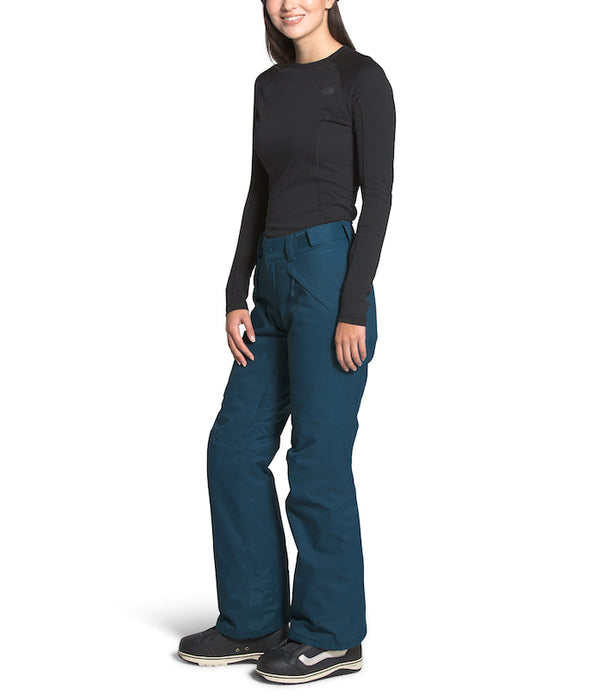 The North Face Women's Freedom Insulated Ski Pants Blue Wing Teal (side) at Proctor Ski in Nashua, NH