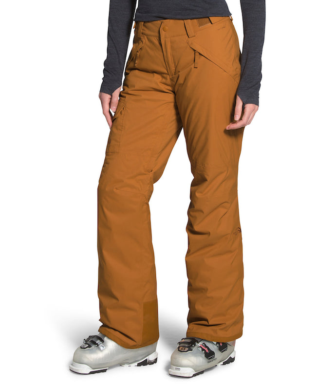 The North Face Women's Freedom Insulated Ski Pants Timber Tan (front) at Proctor Ski in Nashua, NH