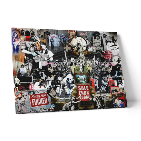 "Quadro in Tela Canvas ""Banksy Collage Di Opere"" - LaMAGLIERIA"