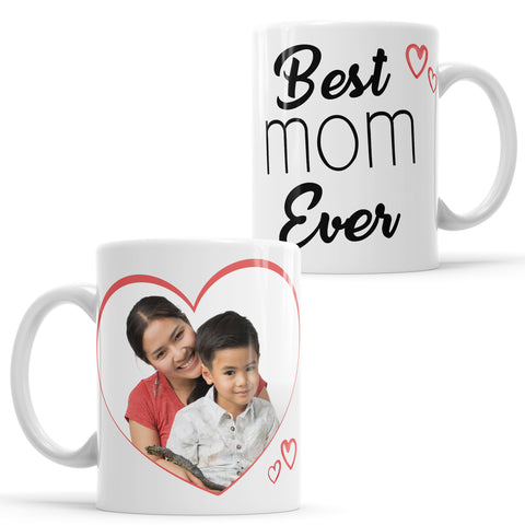 "Tazza personalizzata con foto ""Best mom ever"" moderna"