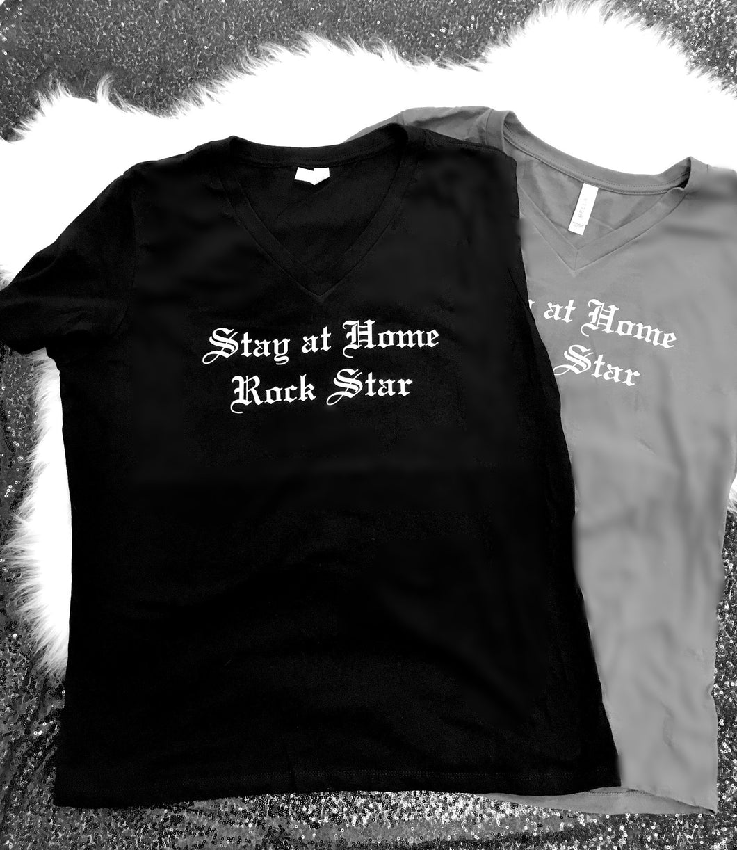 ??Sample - Stay at Home Rock Star™ Relaxed Ladies Vneck t-shirts