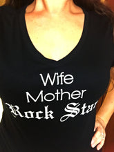 Wife Mother Rock Star Vneck tee