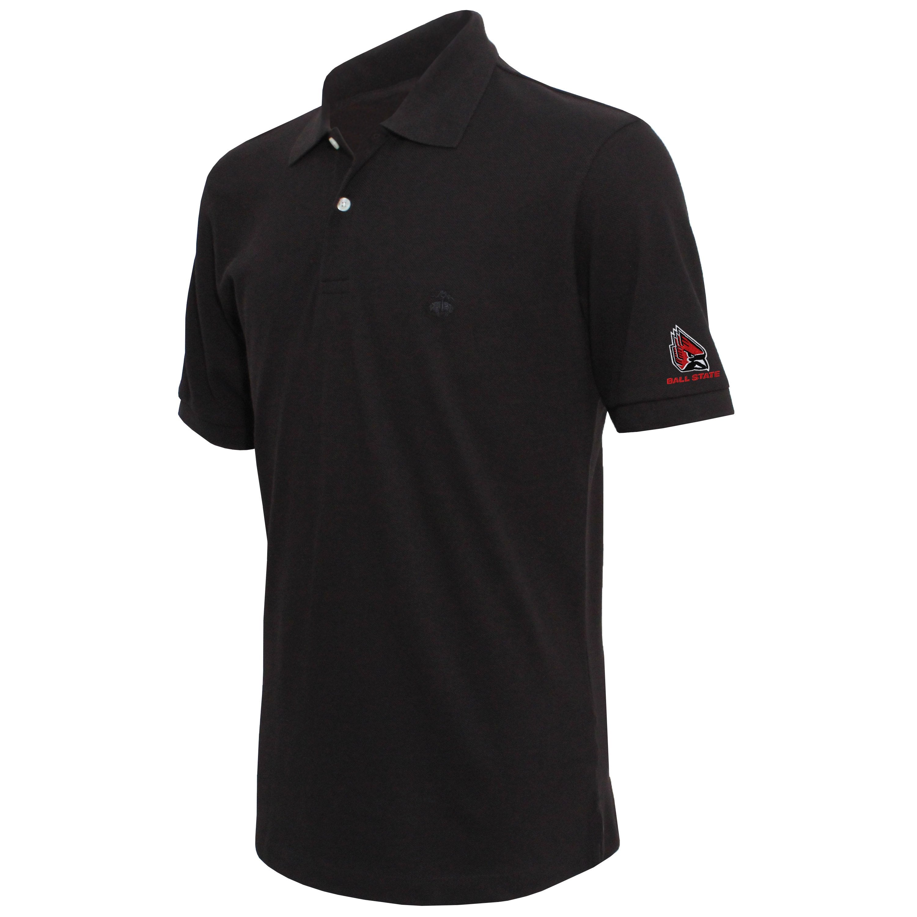 Brooks Brothers Ball State Men's Black Slim Fit Pique Polo Shirt