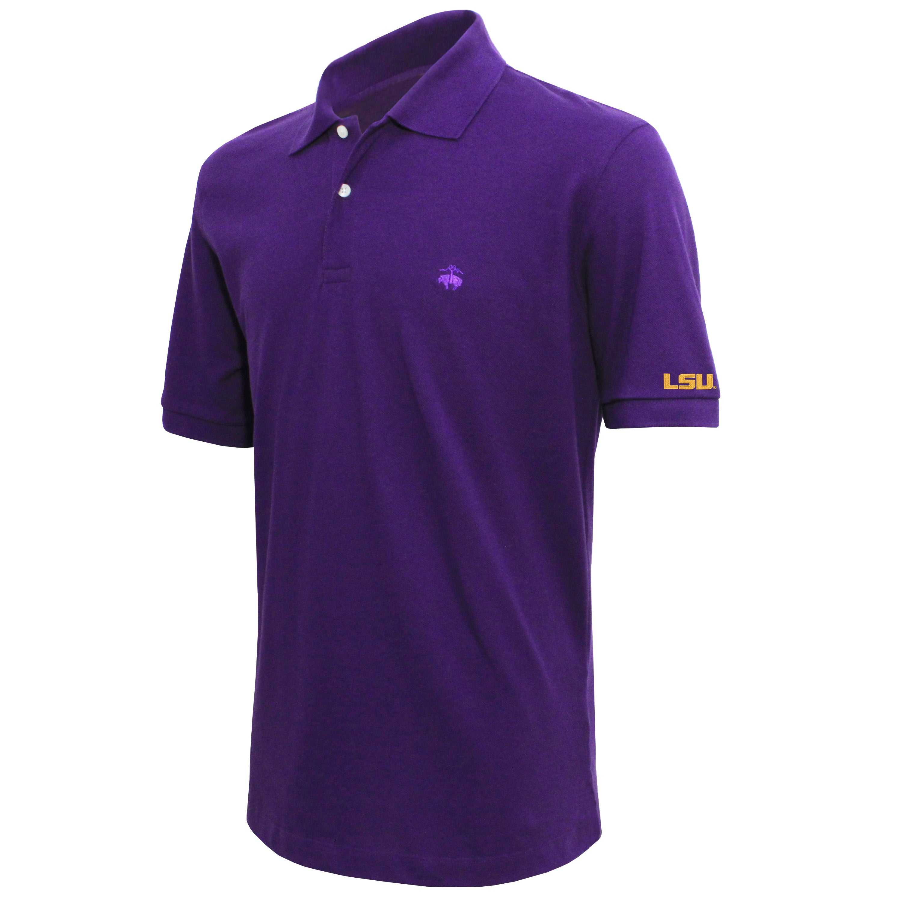 Brooks Brothers Louisiana State Men's Purple Slim Fit Pique Polo Shirt