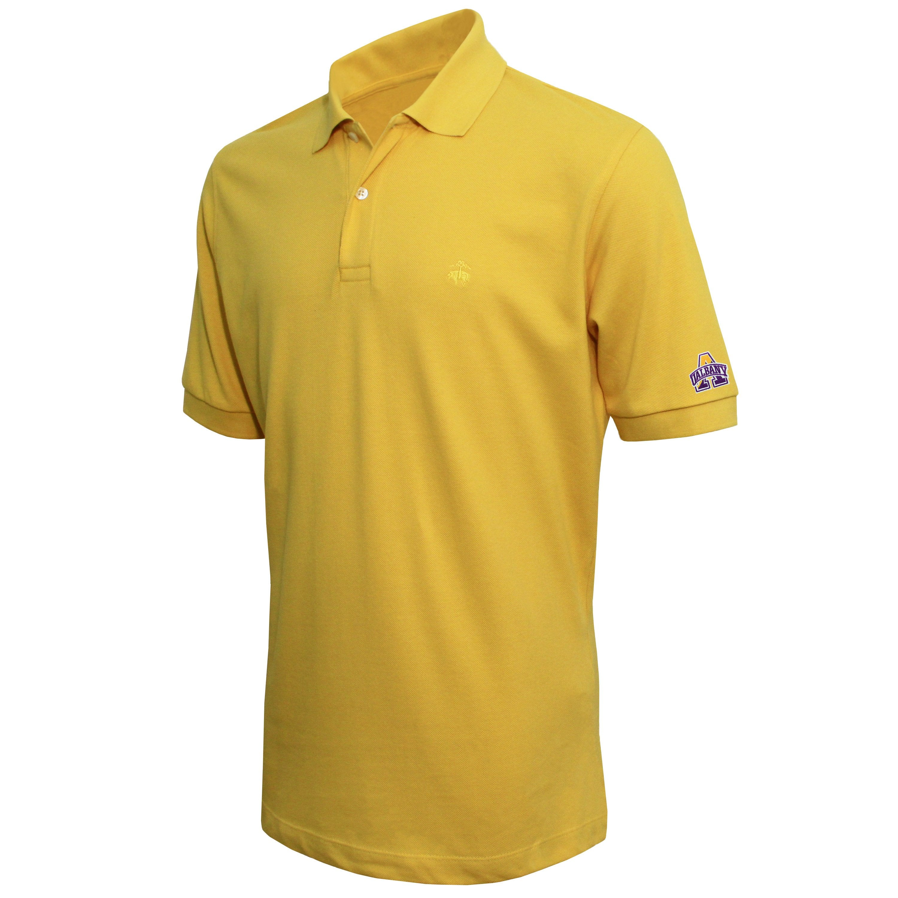 Brooks Brothers University at Albany Men's Yellow Slim Fit Pique Polo Shirt