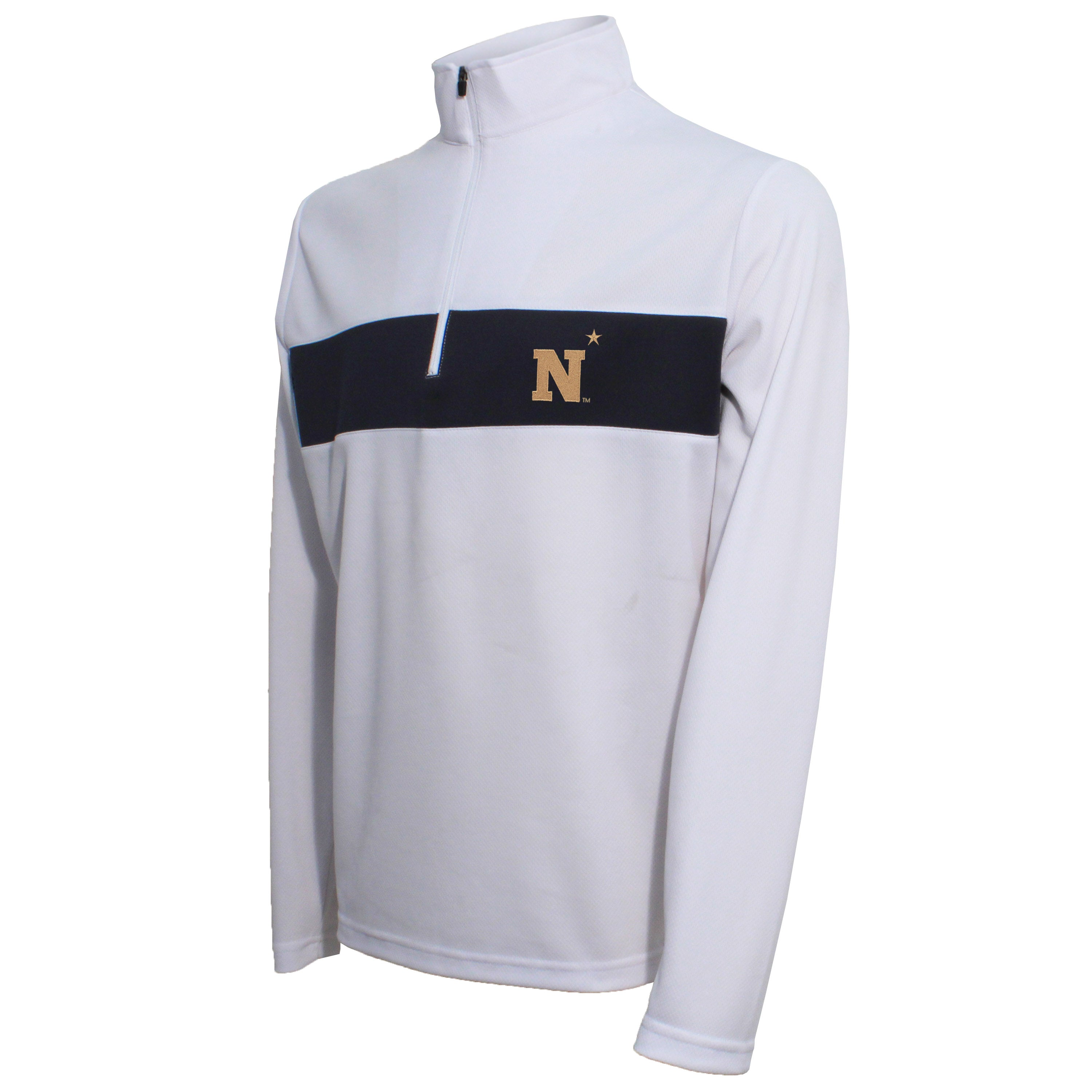 Crable Naval Academy Men's White Quarter Zip Pullover