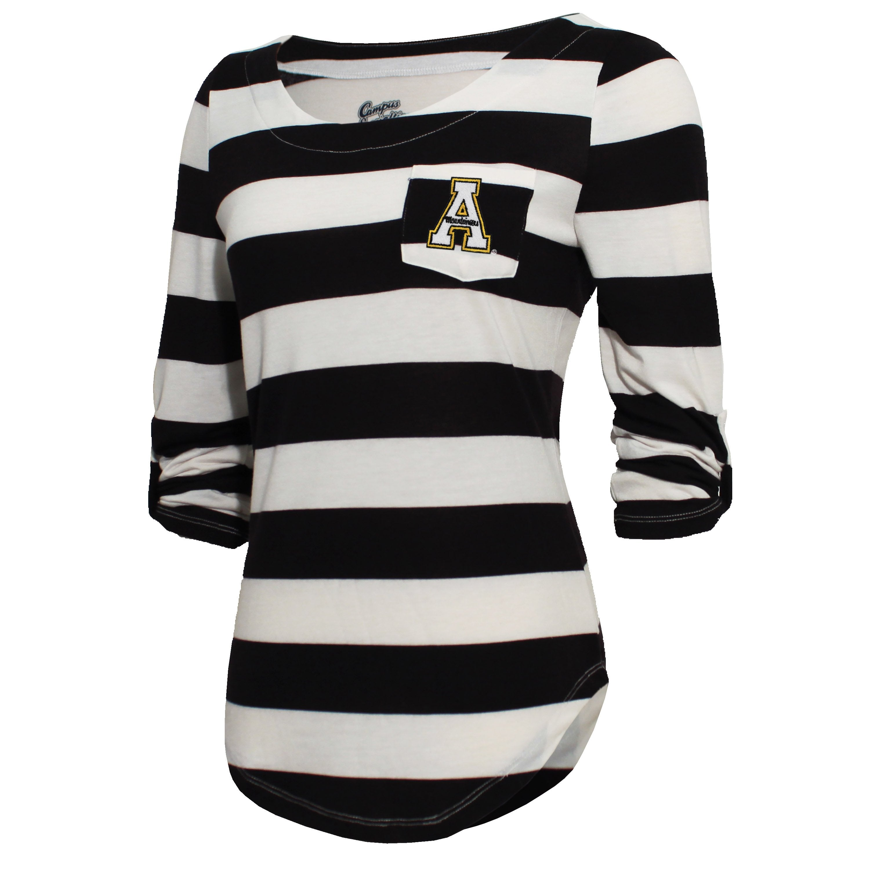 Campus Specialties Appalachian State Women's Black Striped Pocket Top