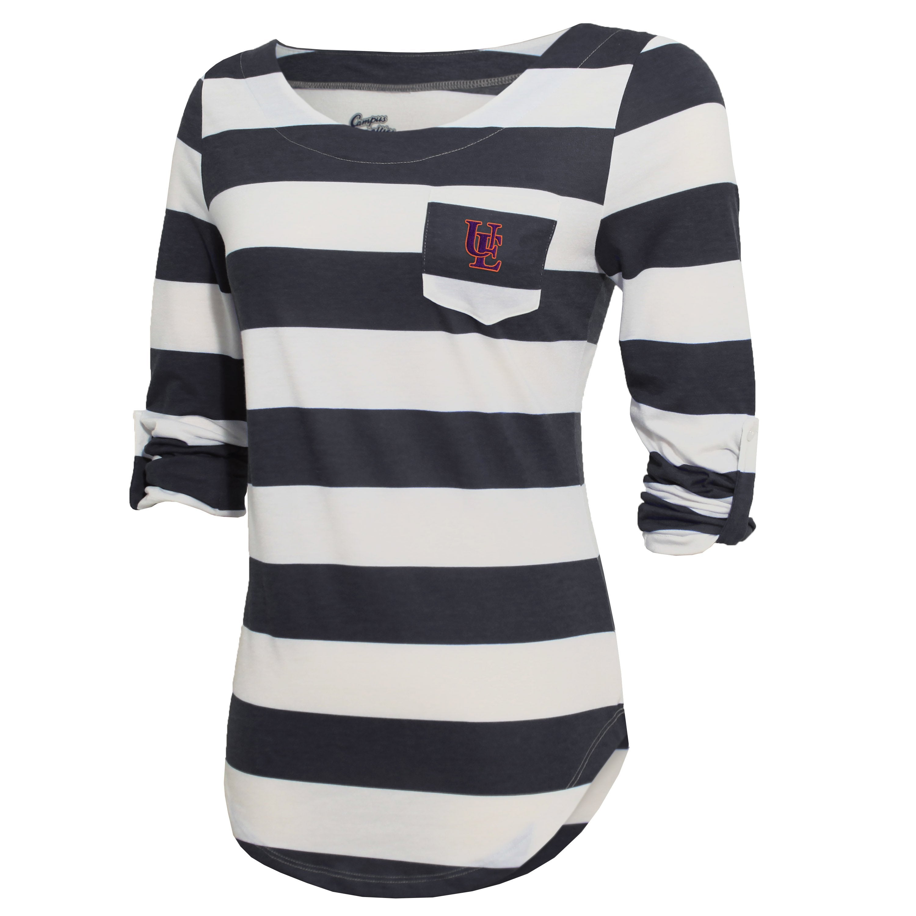 Campus Specialties Evansville Women's Carbon Striped Pocket Top