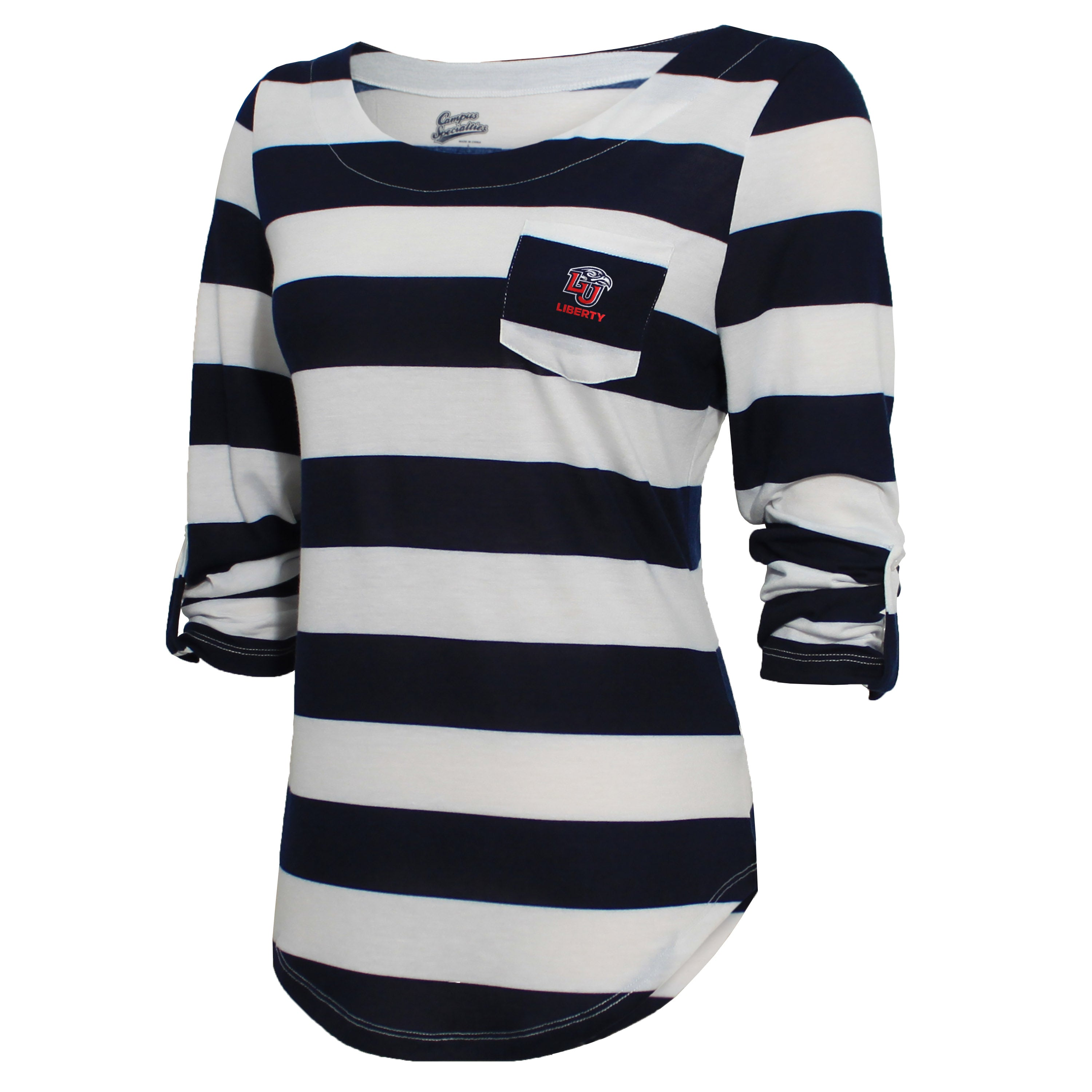 Campus Specialties Liberty Women's Navy Striped Pocket Top
