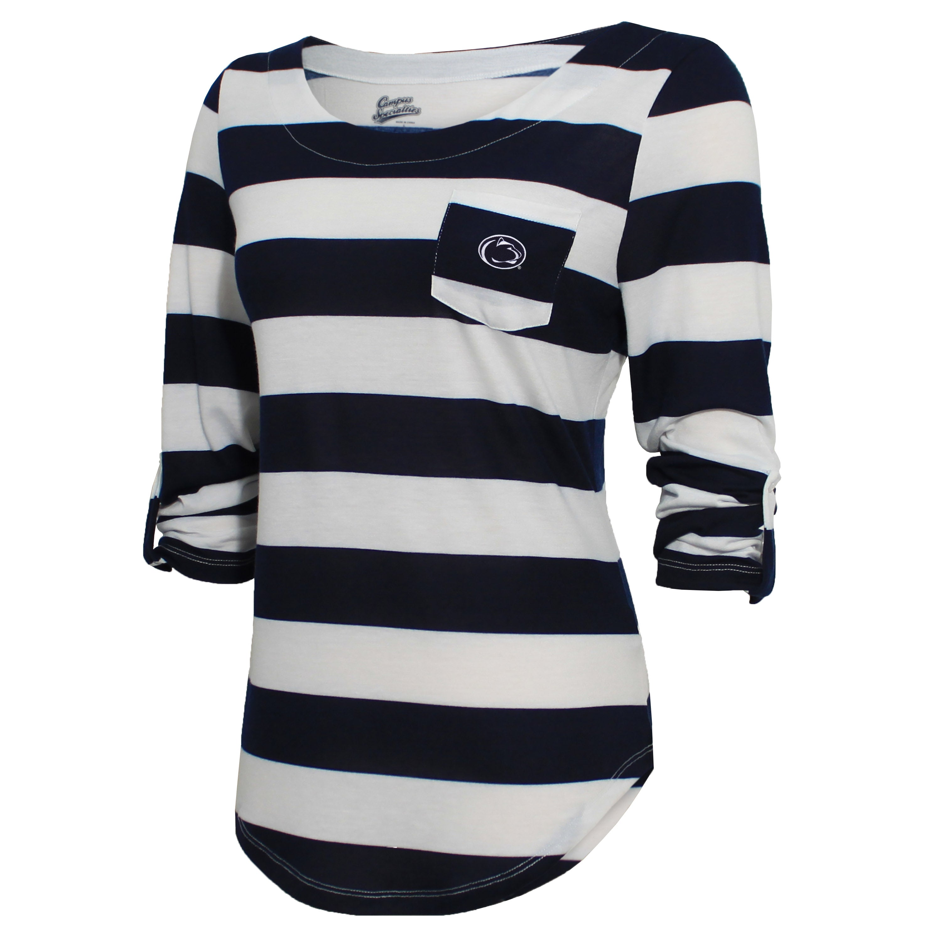 Campus Specialties Penn State Women's Navy Striped Pocket Top