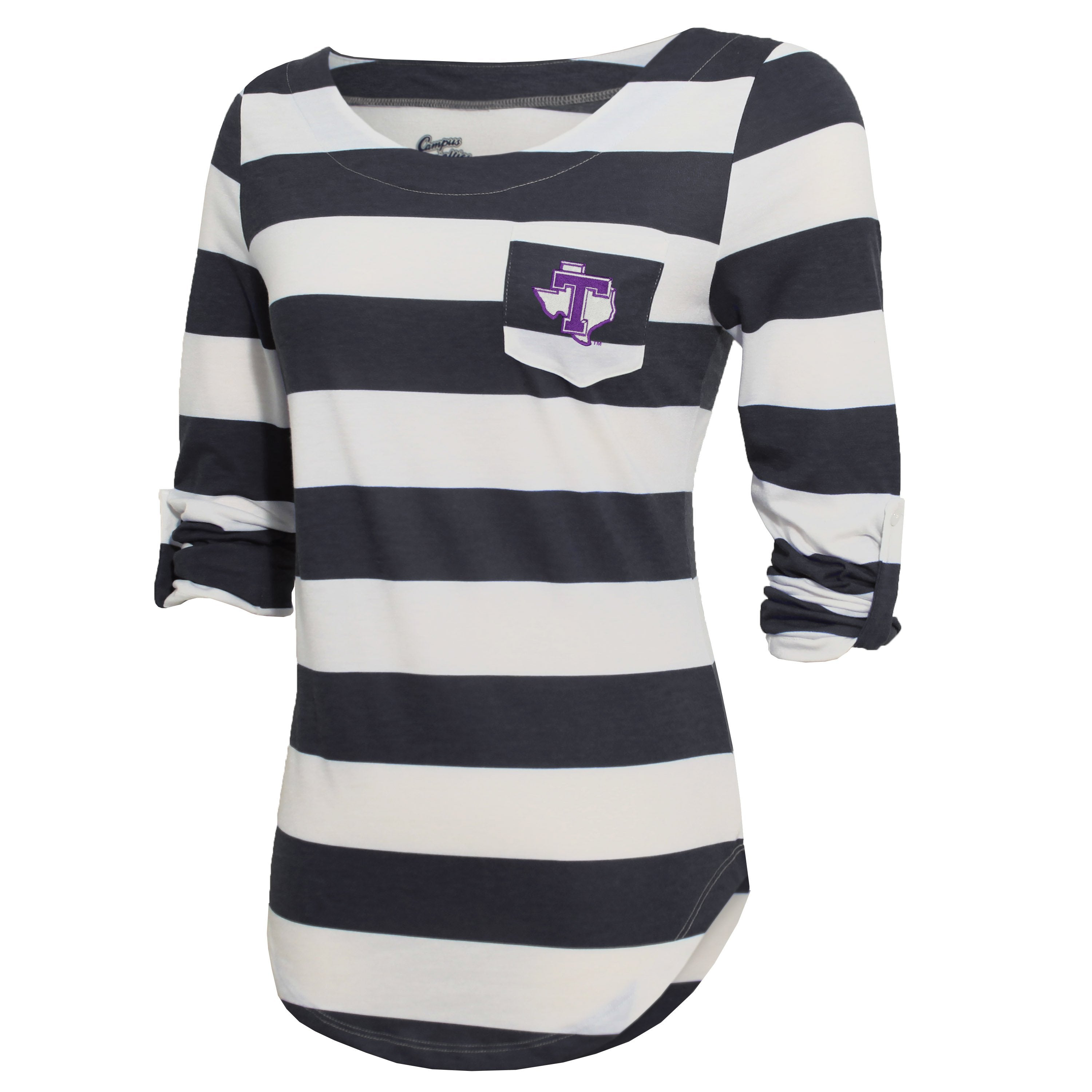 Campus Specialties Tarleton State Women's Carbon Striped Pocket Top