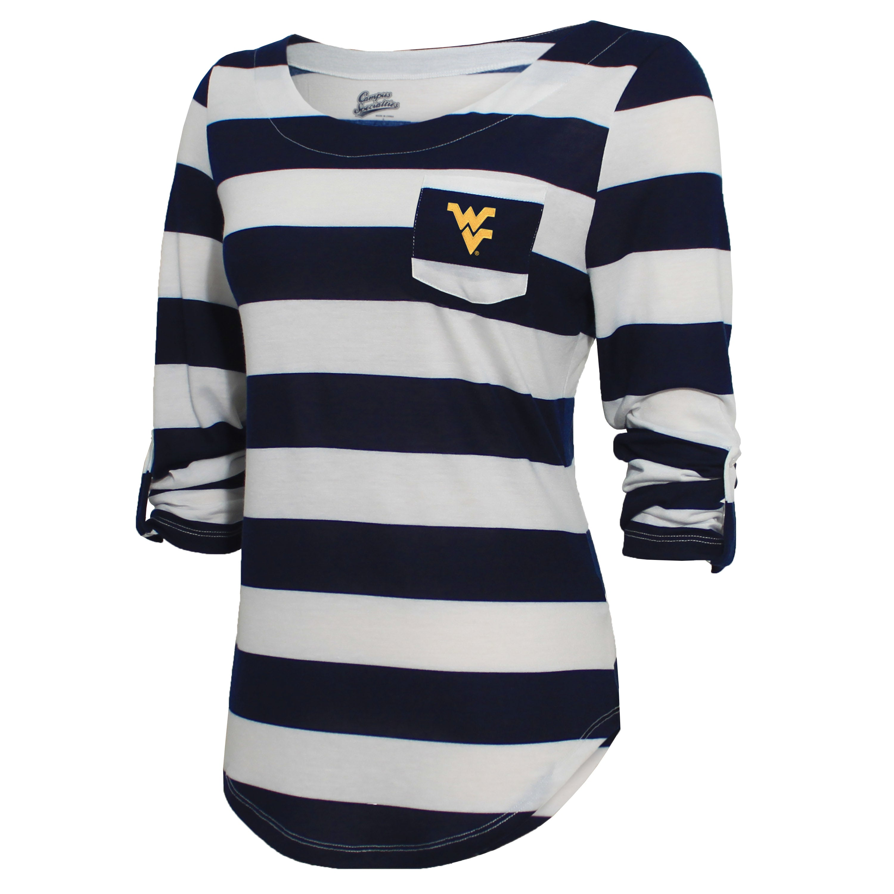 Campus Specialties West Virginia Women's Navy Striped Pocket Top