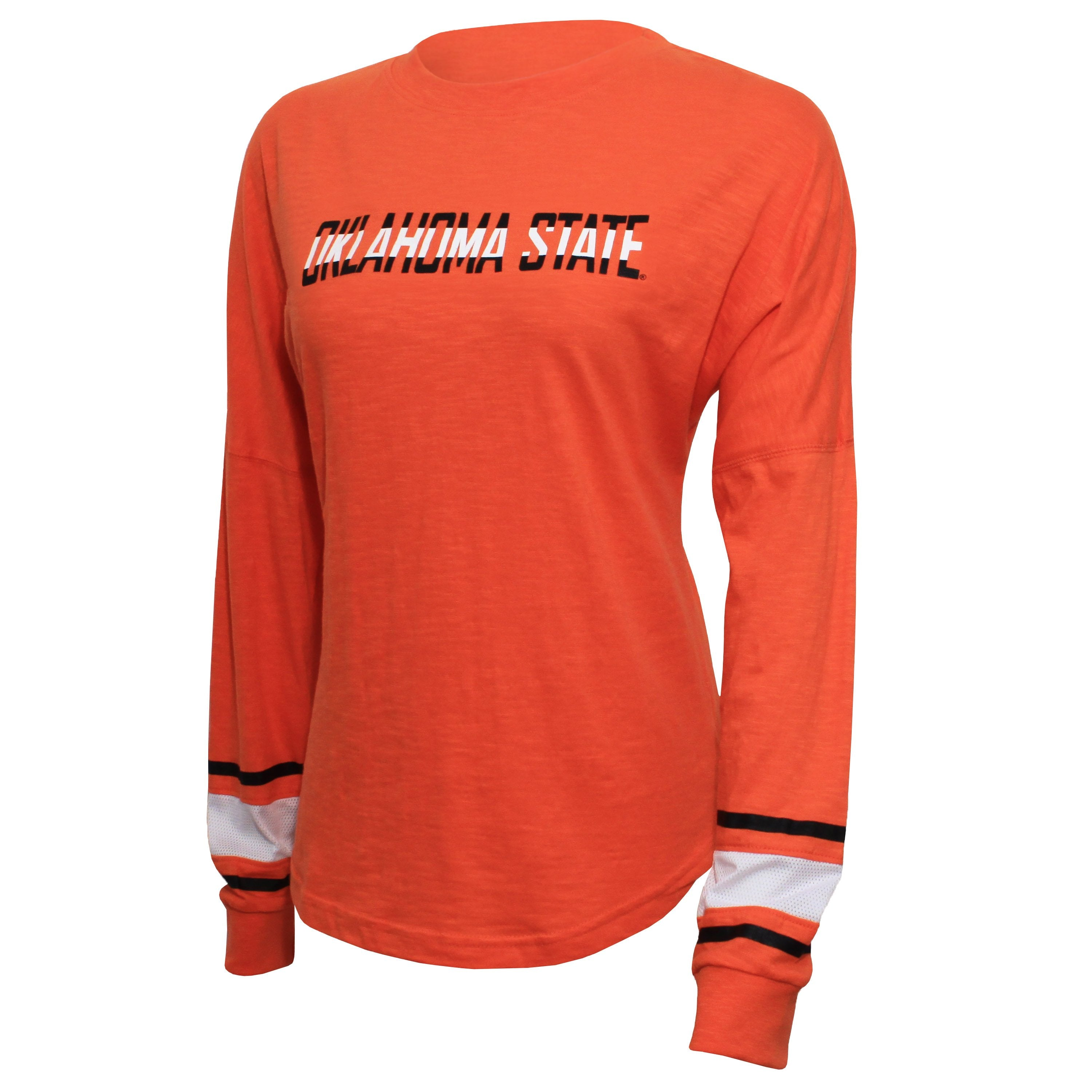 Campus Specialties Oklahoma State Women's Orange Striped Sleeve Top