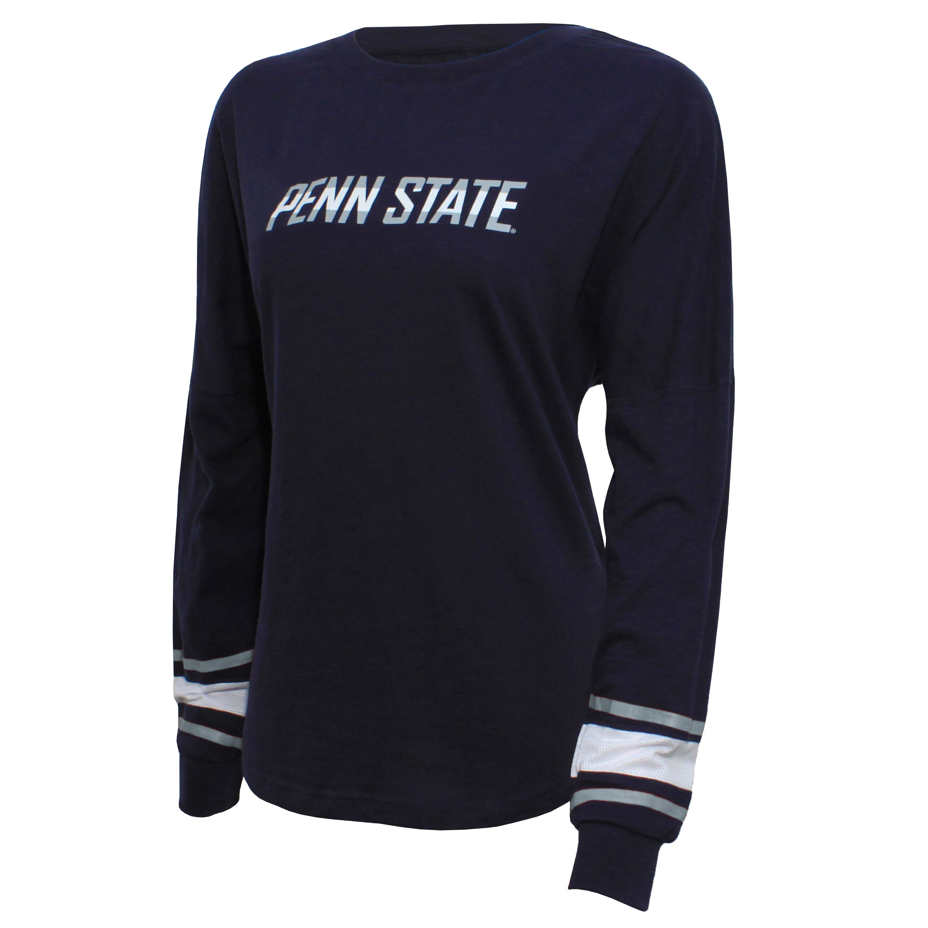 Campus Specialties Penn State Women's Navy Striped Sleeve Top