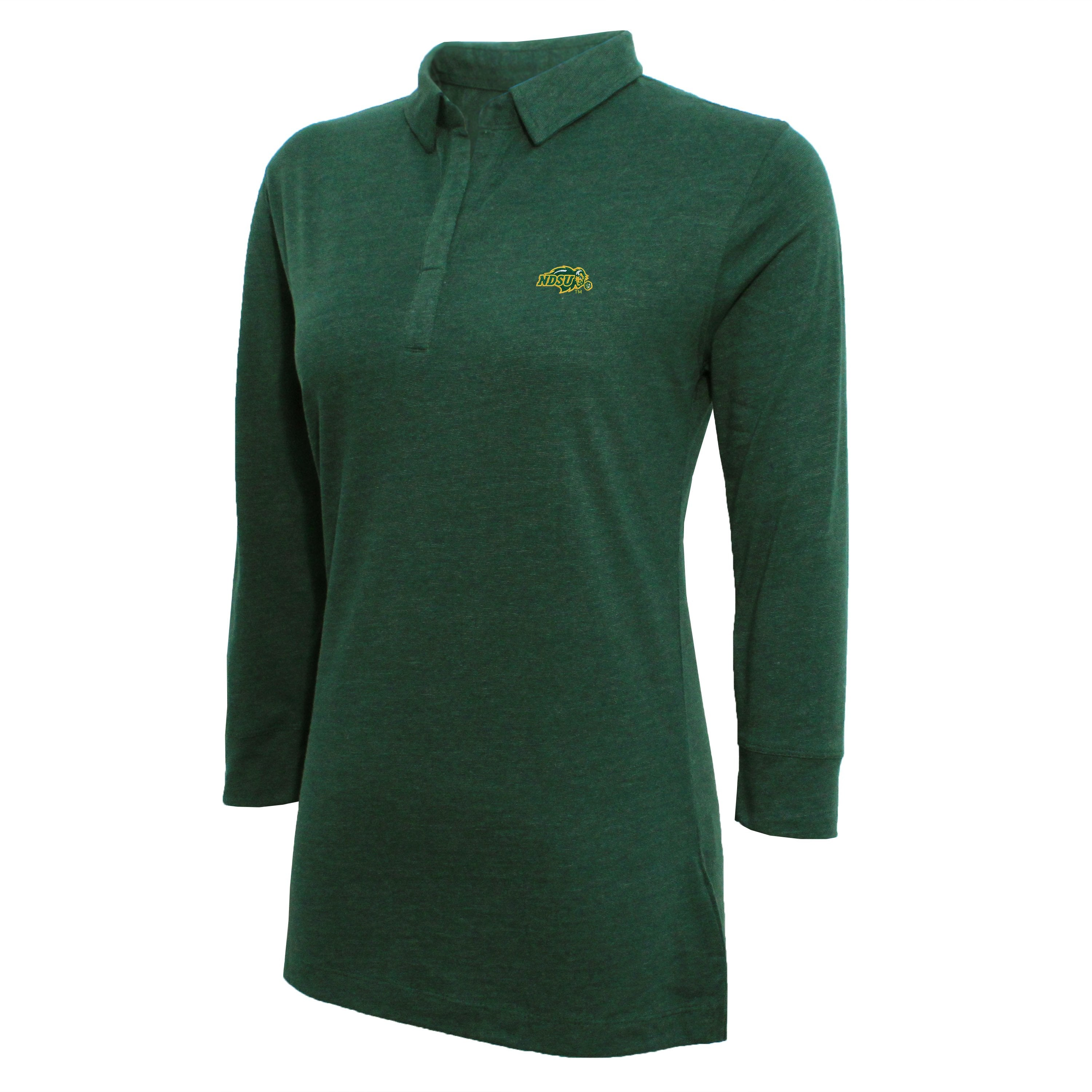 Campus Specialties North Dakota State Women's Green Three Quarter Sleeve Polo