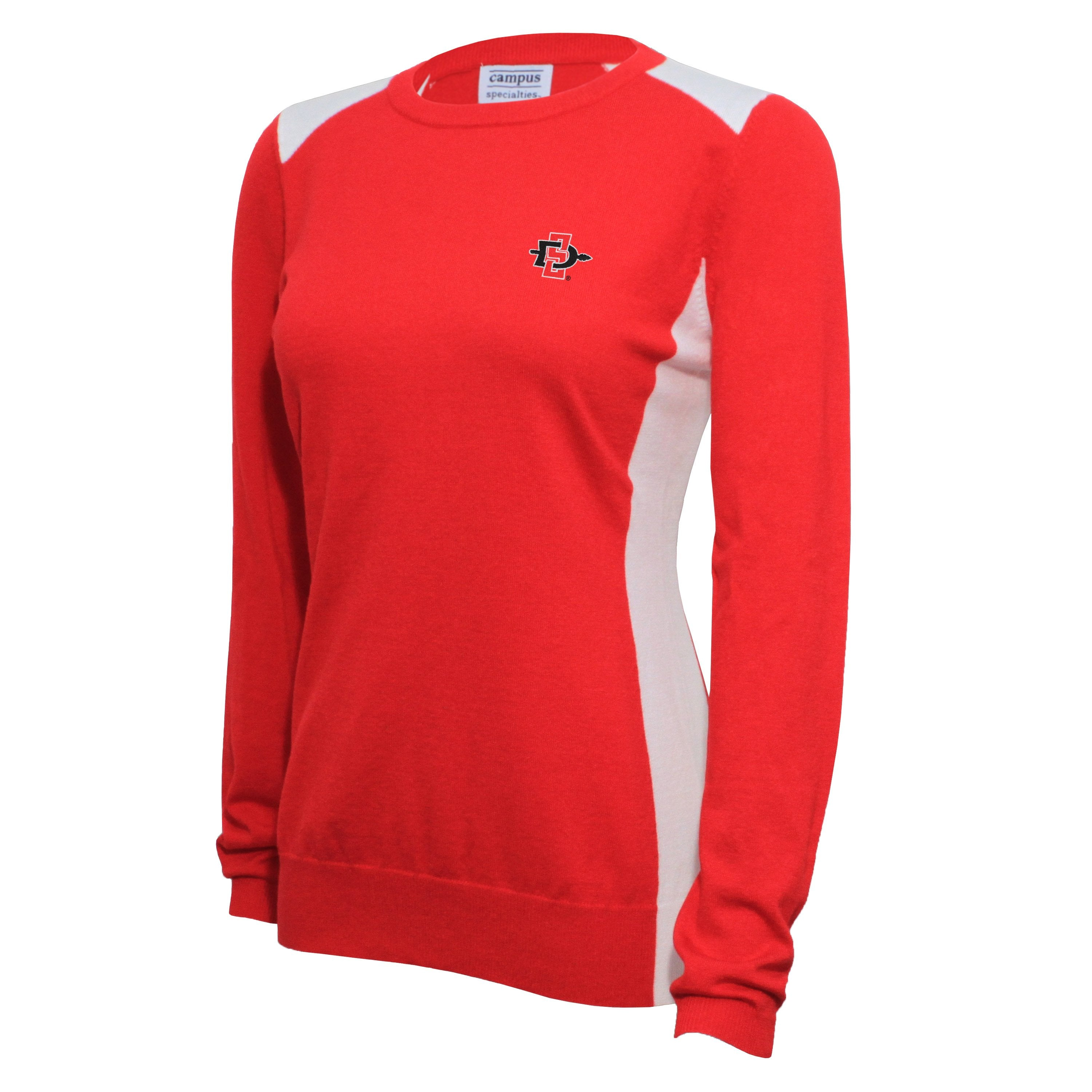 Campus Specialties San Diego State Women's Red Contrast Panel Sweater