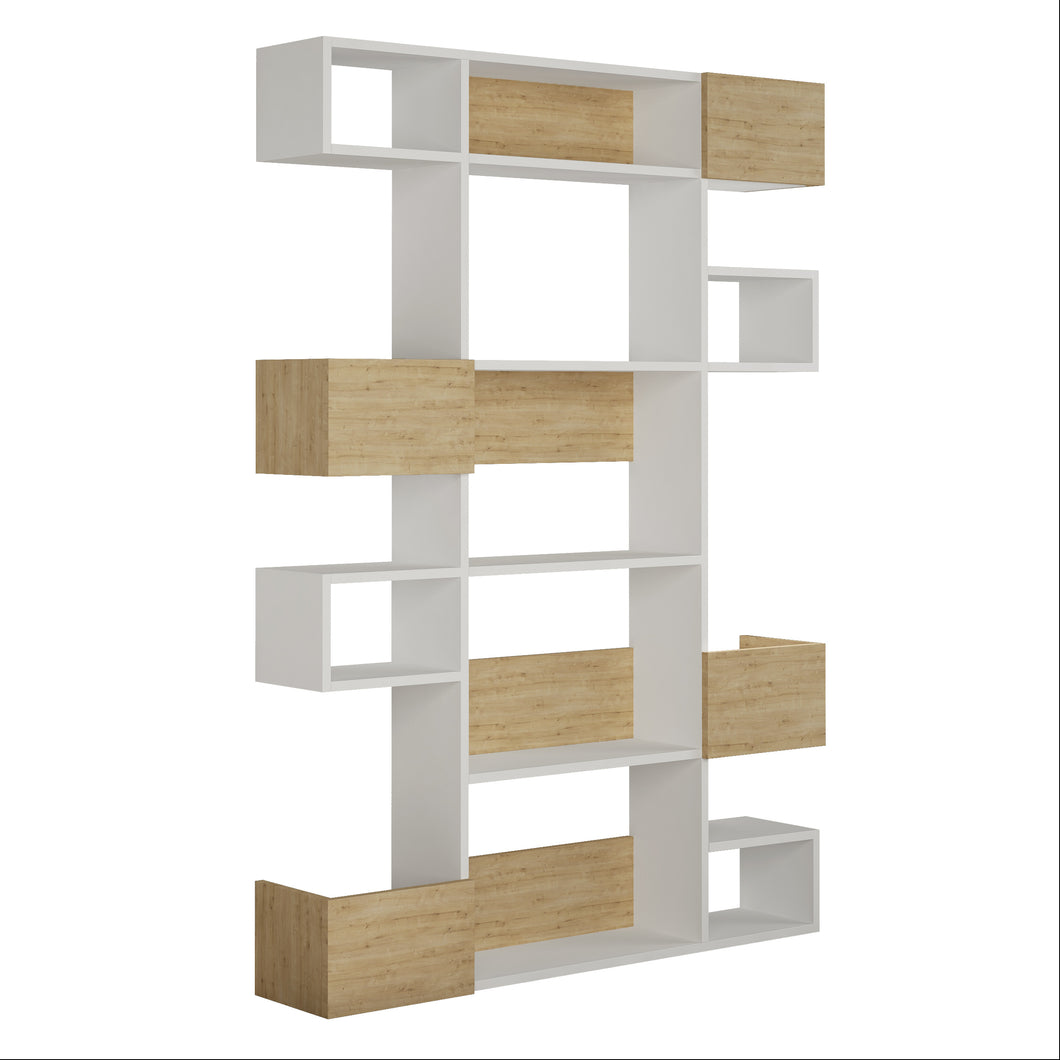 Niho - White, Oak Bookshelf