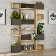 Niho - Oak, Anthracite Bookshelf
