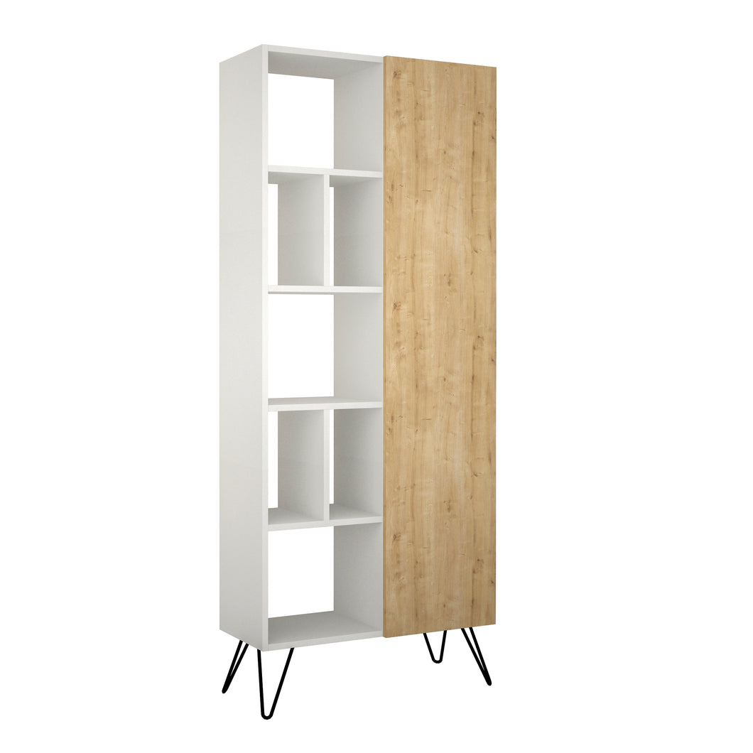 Jedda Bookcase - White, Oak Bookshelf