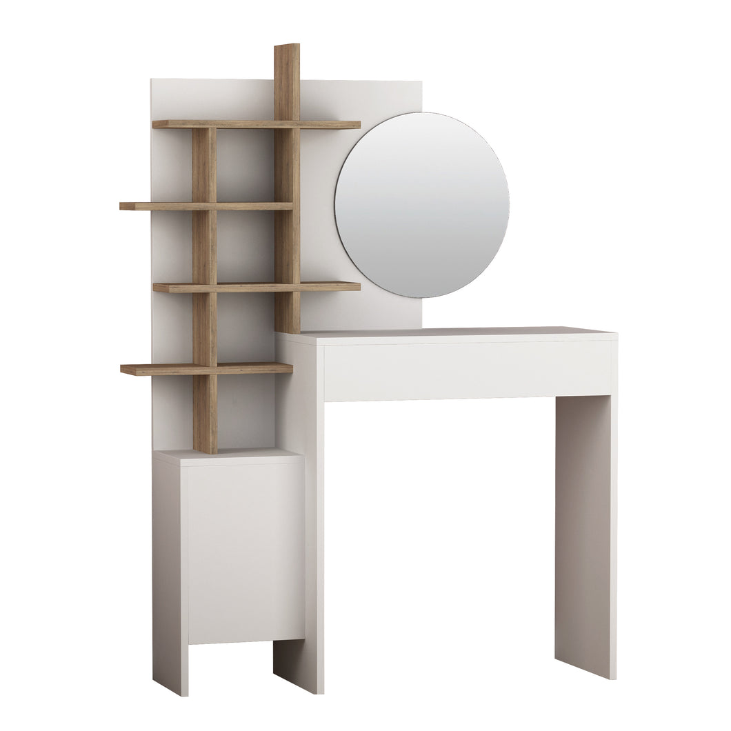 Mup - White, Oak Make-up Table