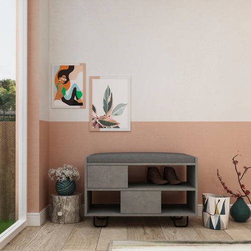 Troy - Retro Grey Shoe Cabinet