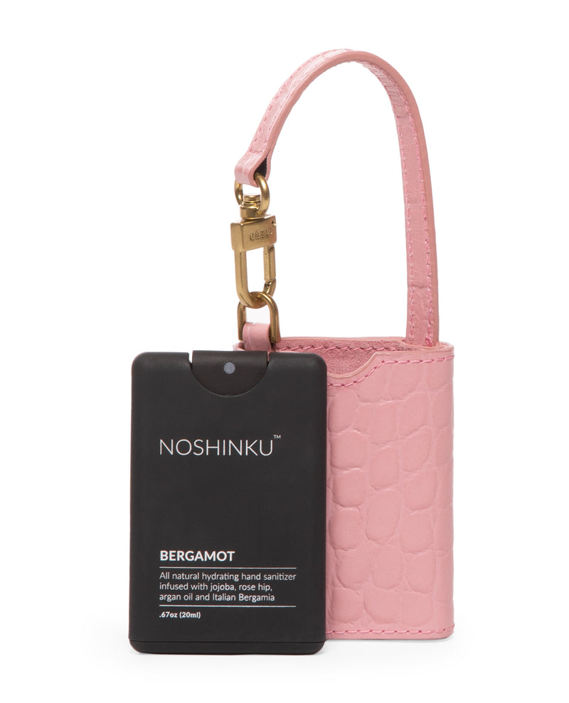 STAUD X NOSHINKU Pocket Hand Sanitizer & Case | Geranium Croc Embossed