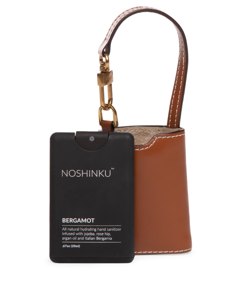 STAUD X NOSHINKU Pocket Hand Sanitizer & Case | Tan Leather