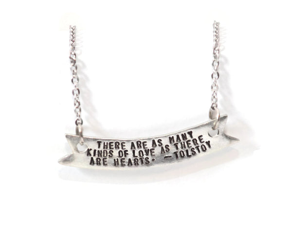 book quote pewter banner and stainless steel chain metal stamped necklace