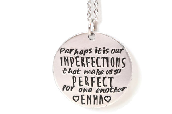 emma quote aluminum and stainless steel metal stamped necklace