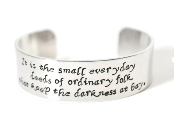 custom book quote 3/4 inch wide aluminum cuff bracelet metal stamped