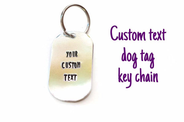 custom text quote aluminum metal stamped dog tag dogleg keychain // key chain geekery geek nerd personalized gift for dad mom bff