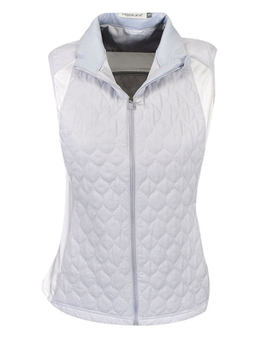 Ladies Maggie Lane Quilted Full Zip Vest Light Blue/White