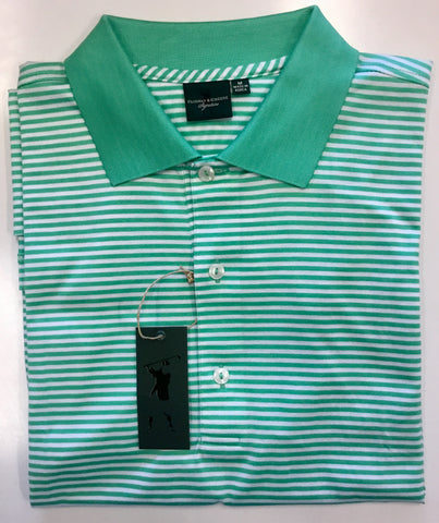 Mens Fairway & Greene Classic Stripe Lisle Polo Cool Breeze - Golf Stitch