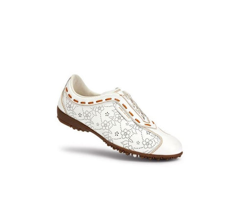 Ladies Duca Del Cosma Lounge Golf Shoe White - Golf Stitch
