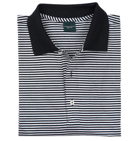 Mens Fairway & Greene Classic Lisle Stripe Polo Black/White - Golf Stitch