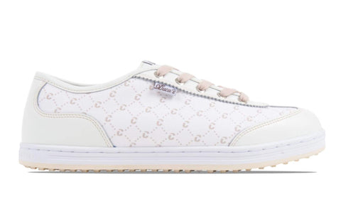 Ladies Duca Del Cosma Menterosa Golf Shoes White/Jacquard - Golf Stitch