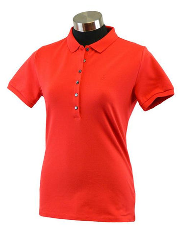Ladies Calvin Klein Cotton Polo Red - Golf Stitch