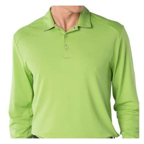 Mens IBKUL Solid Longsleeve Polo Green
