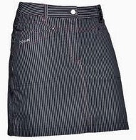 Ladies Daily Sports Pin Stripe Skort Navy - Golf Stitch
