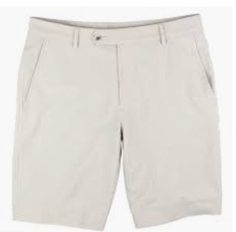 Mens Fairway & Greene Larson Flat Front Tech Shorts White - Golf Stitch